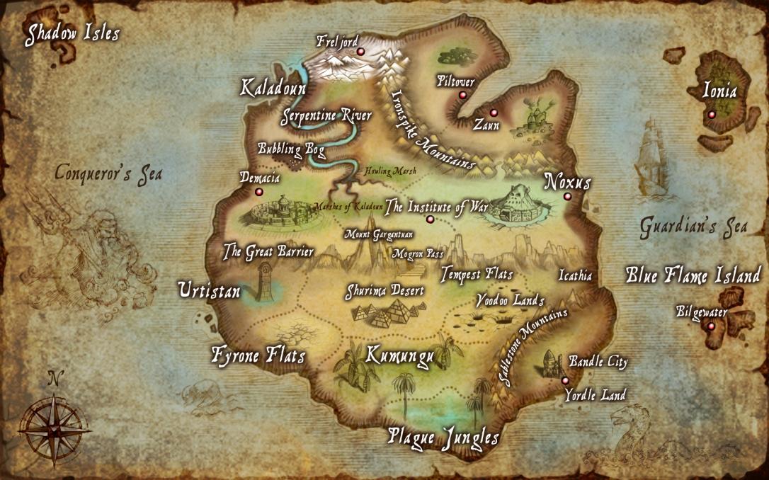Мапата на Valoran, местото од каде што потекнуваат сите ликови од League Of Legends