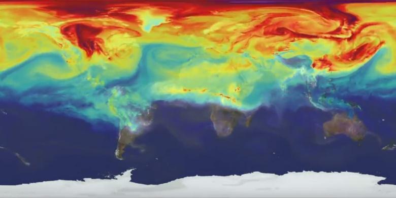 Како патува јаглеродниот диоксид низ атмосферата на нашата планета во текот на 1 година?